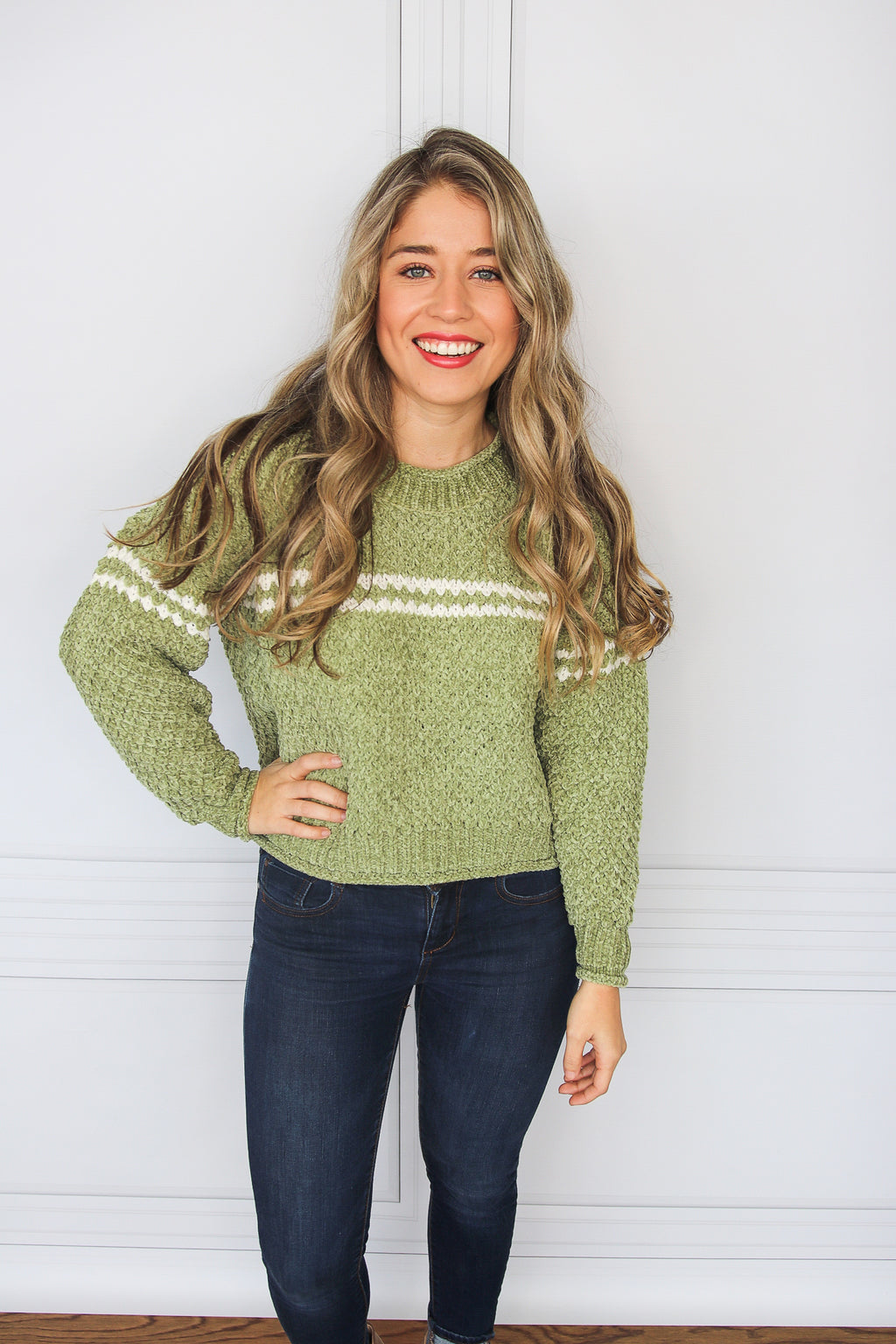 Light Green Chenille Sweater - Shop Core Collection