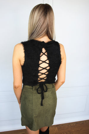 Black Fuzzy Crop Top - Shop Core Collection