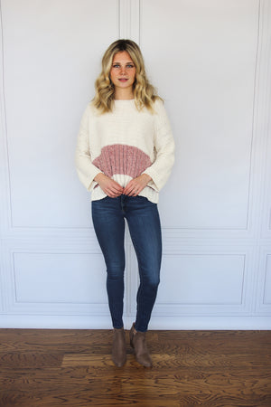 White and Pink Striped Chenille Sweater - Shop Core Collection