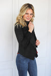 Black Suede Drape Front Jacket - Shop Core Collection
