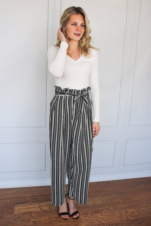 Black and White Paperbag Pants - Shop Core Collection