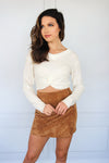 White Cropped Sweater Twist Front - Shop Core Collection