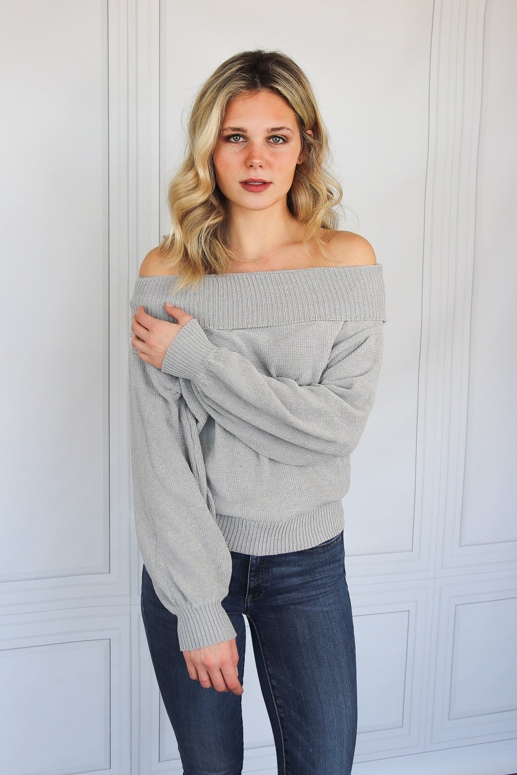 Grey Off-the-Shoulder Chenille Sweater - Shop Core Collection