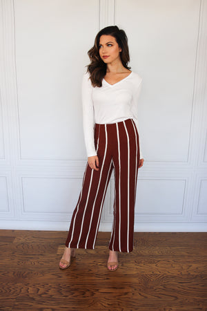 Rust and White Striped Pants - Shop Core Collection