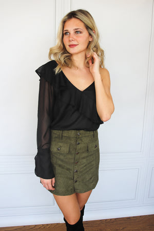 Black One Shoulder Ruffle Blouse - Shop Core Collection
