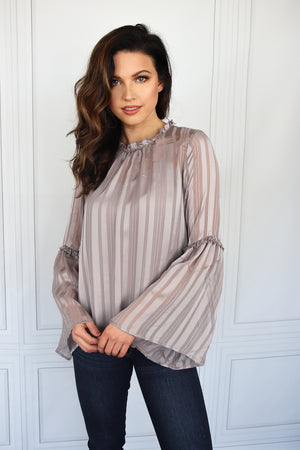 Gull Grey Bell Sleeve Blouse - Shop Core Collection