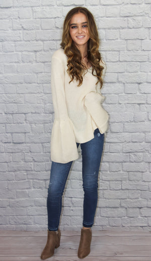 Ivory Bell-Sleeve Sweater - Shop Core Collection