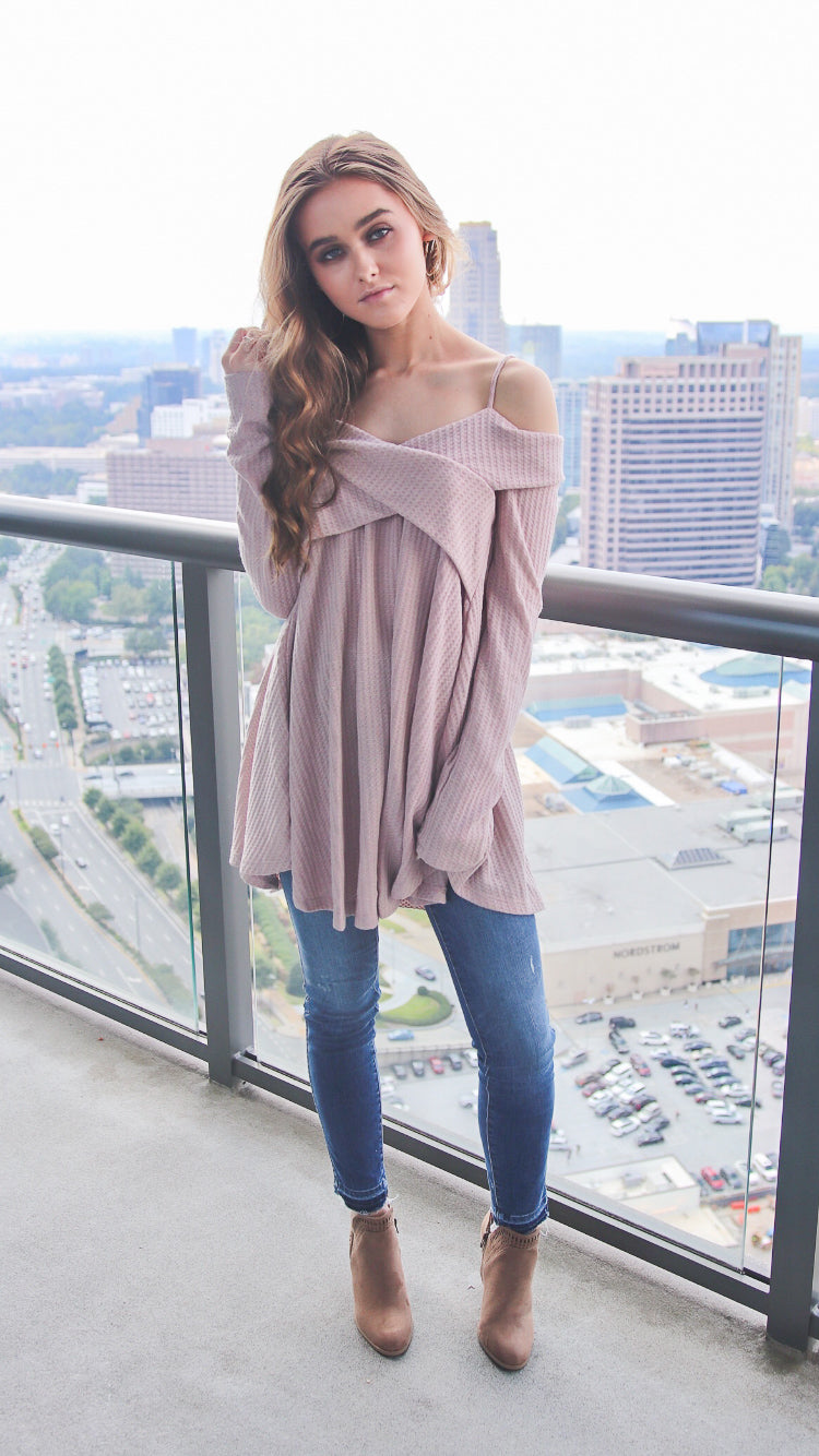 Mauve Cold Shoulder Top - Shop Core Collection