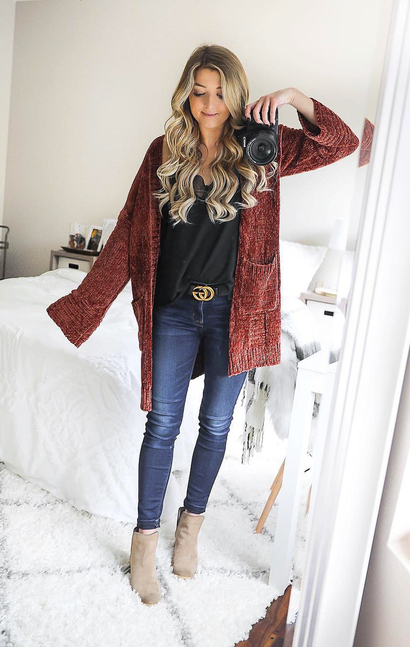 Brick Chenille Cardigan - Shop Core Collection