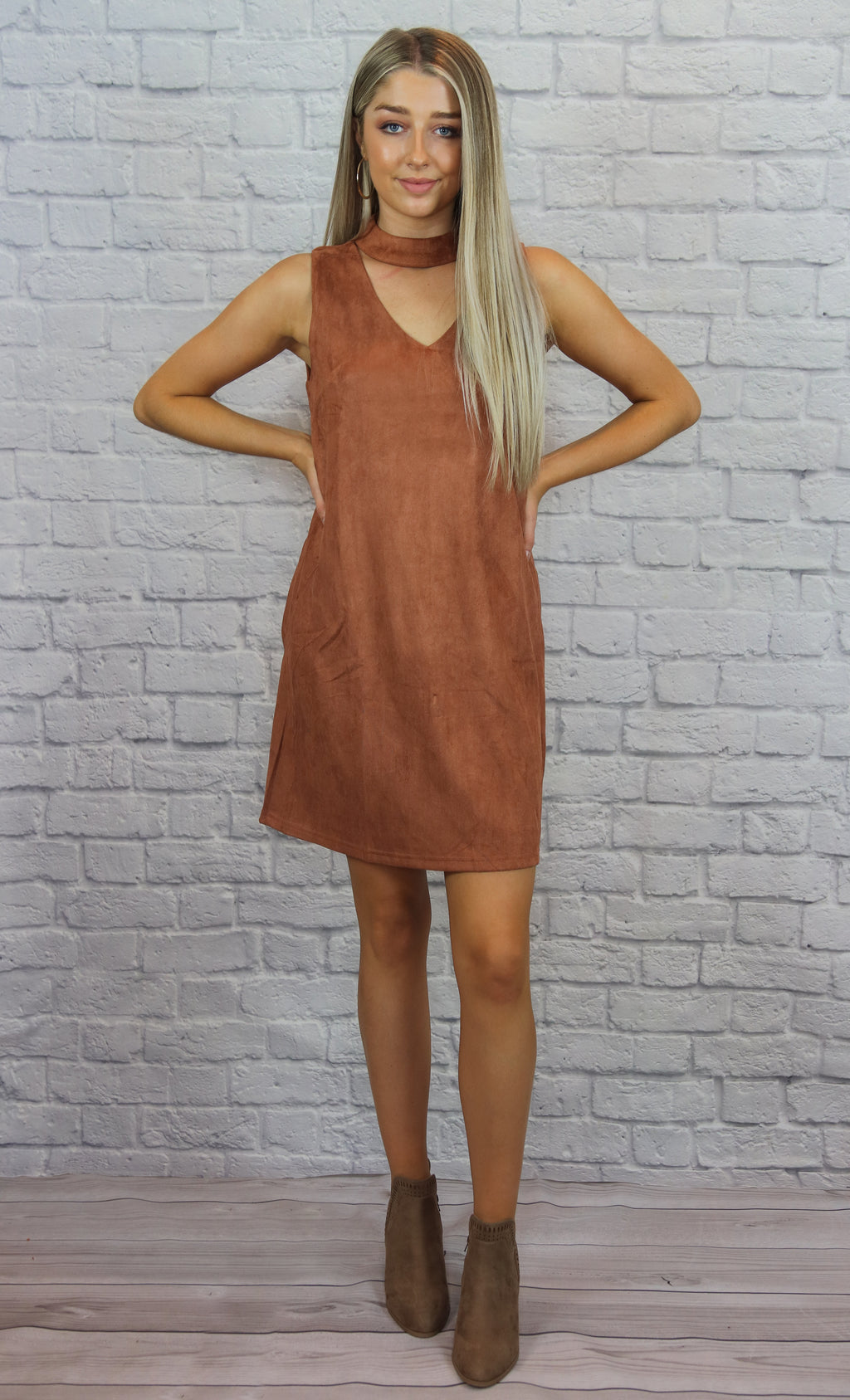 Suede Keyhole Dress - Shop Core Collection