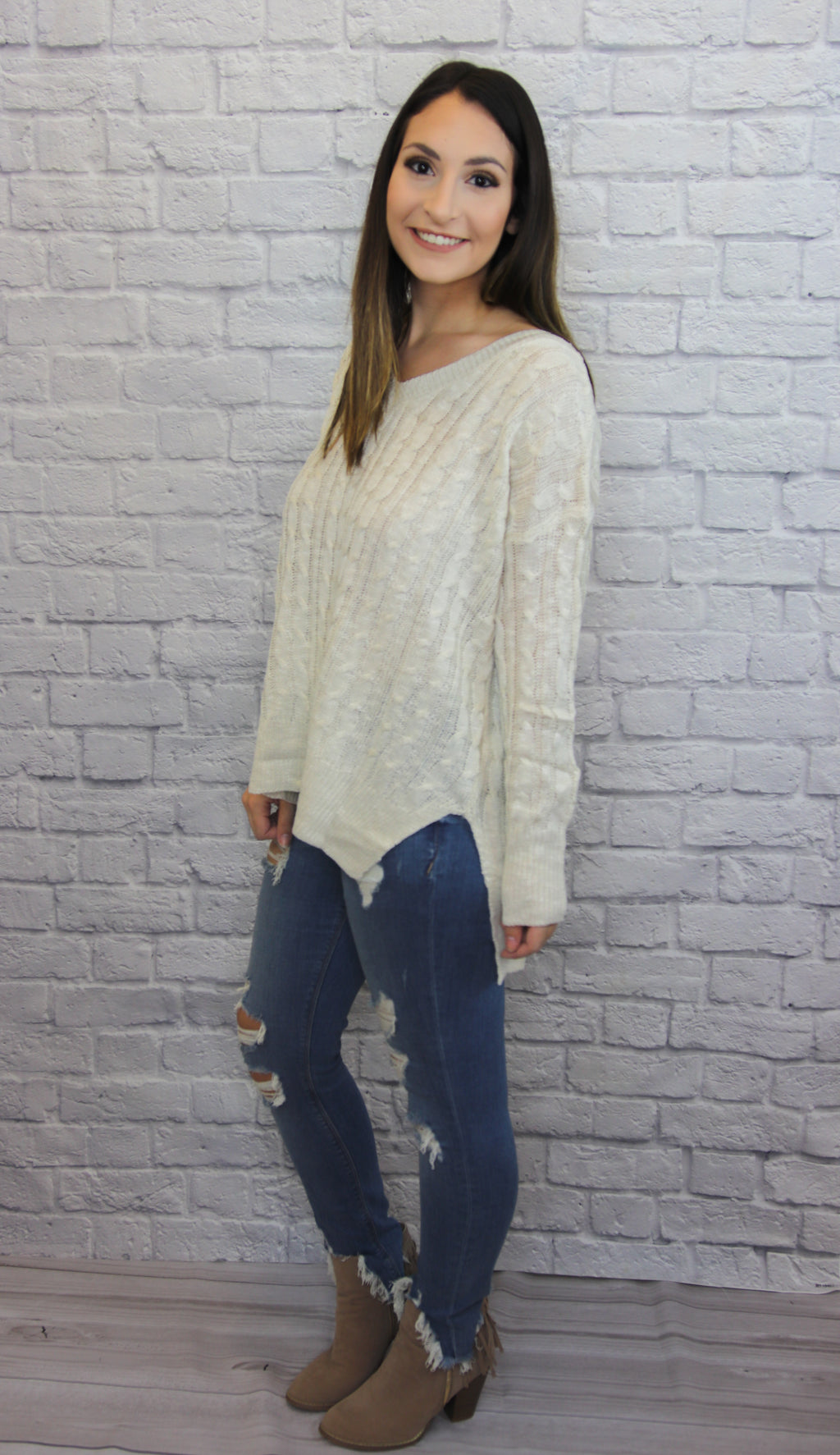 Cream Cable-Weave Sweater - Shop Core Collection
