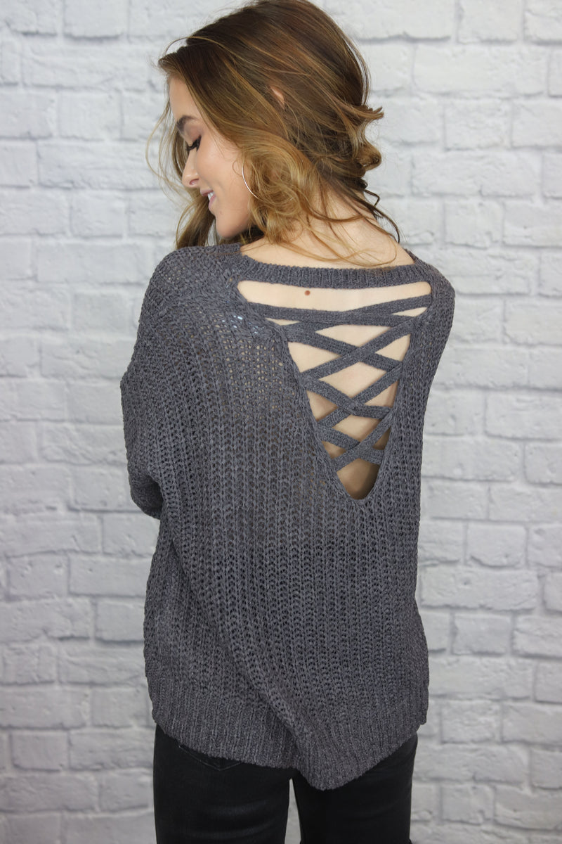 Grey Sweater Open Back - Shop Core Collection