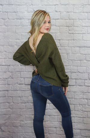Green Twist Back Sweater - Shop Core Collection