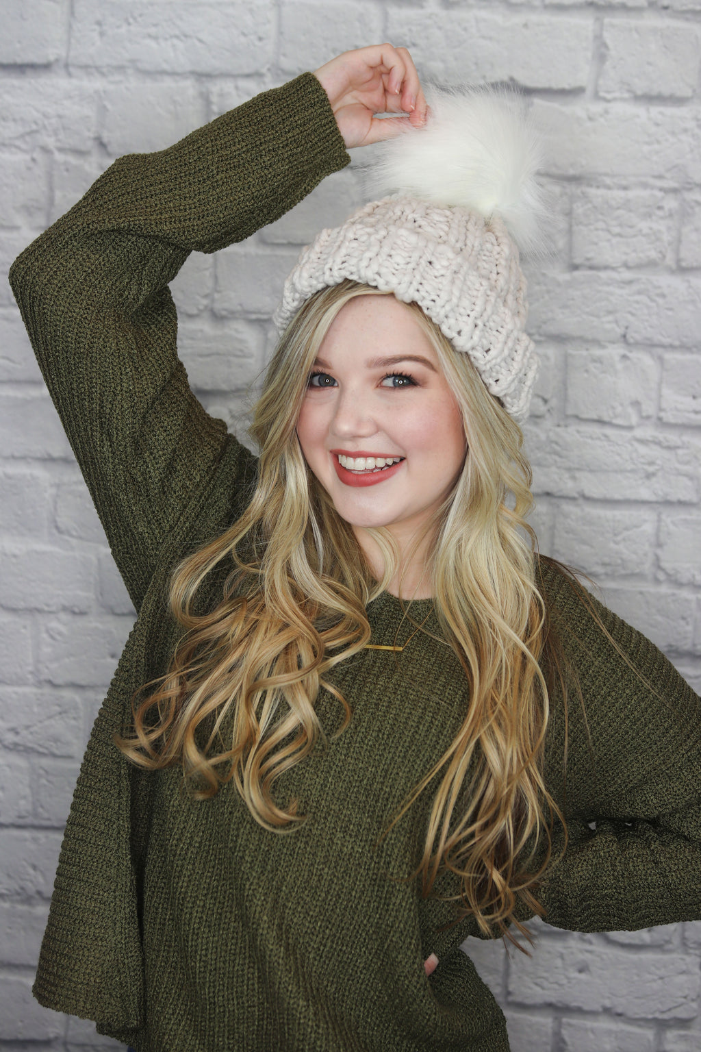 Grey Knit Pom Pom Hat - Shop Core Collection