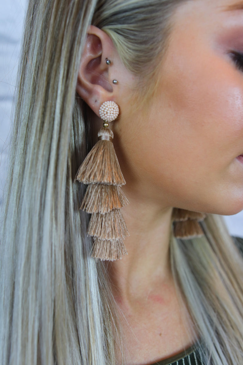 Champagne Tassel Earrings - Shop Core Collection