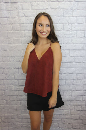 Red Suede Striped Tank - Shop Core Collection