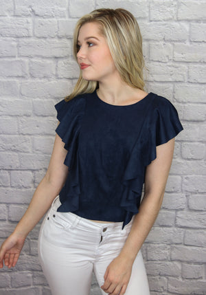 Navy Suede Top - Shop Core Collection
