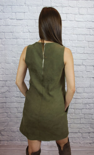 Olive Suede Dress - Shop Core Collection