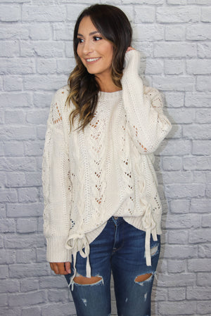 Ivory Tie-Up Sweater - Shop Core Collection