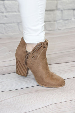 Tan Cut-Out Booties - Shop Core Collection