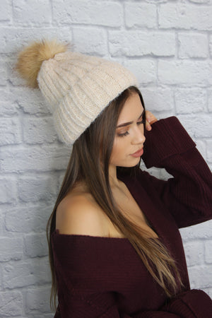 Beige Knit Pom Pom Hat - Shop Core Collection