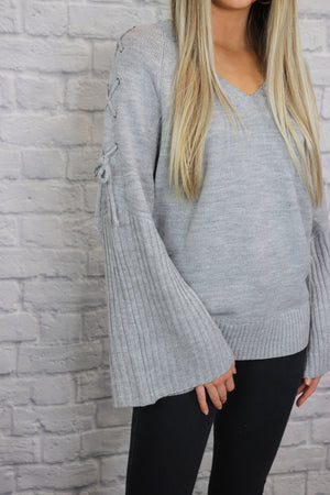 Grey Sleeve Tie Sweater - Shop Core Collection