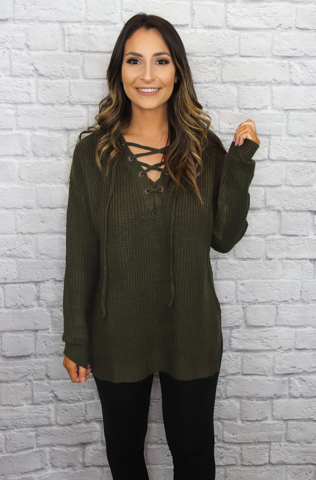 Olive Lace-up Sweater - Shop Core Collection