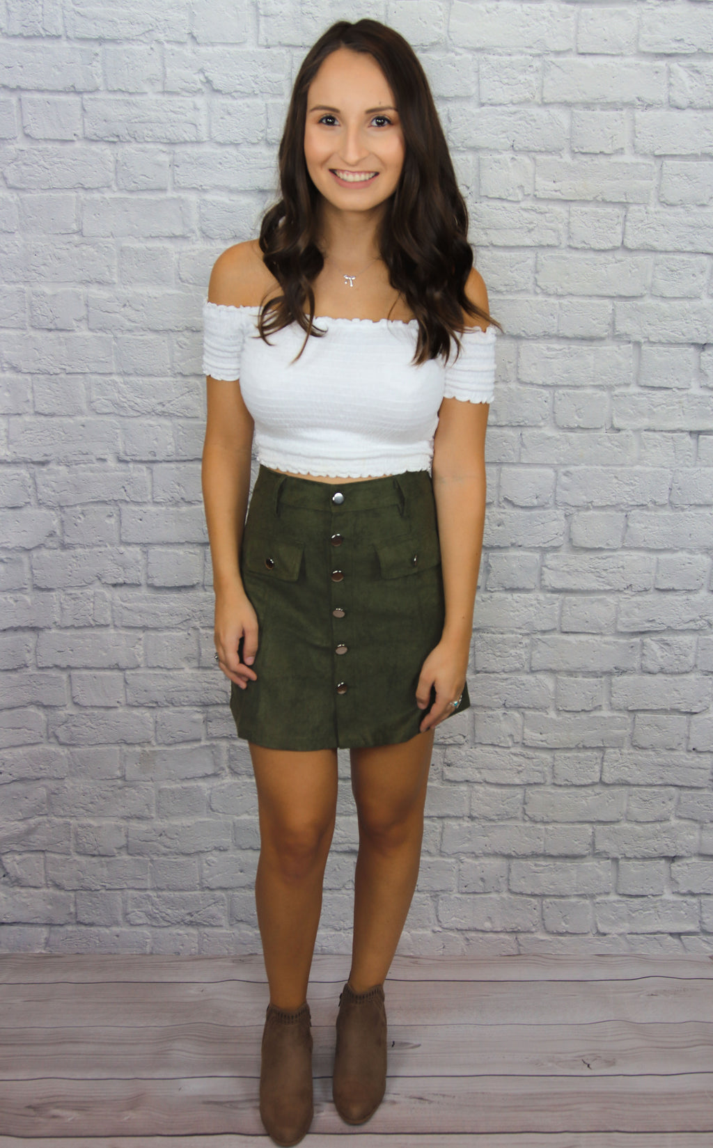 Olive Button Up Skirt - Shop Core Collection