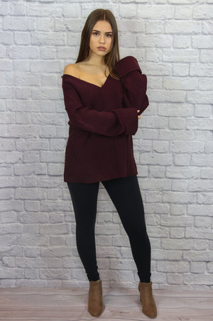 Maroon Cuff Sleeve Sweater - Shop Core Collection