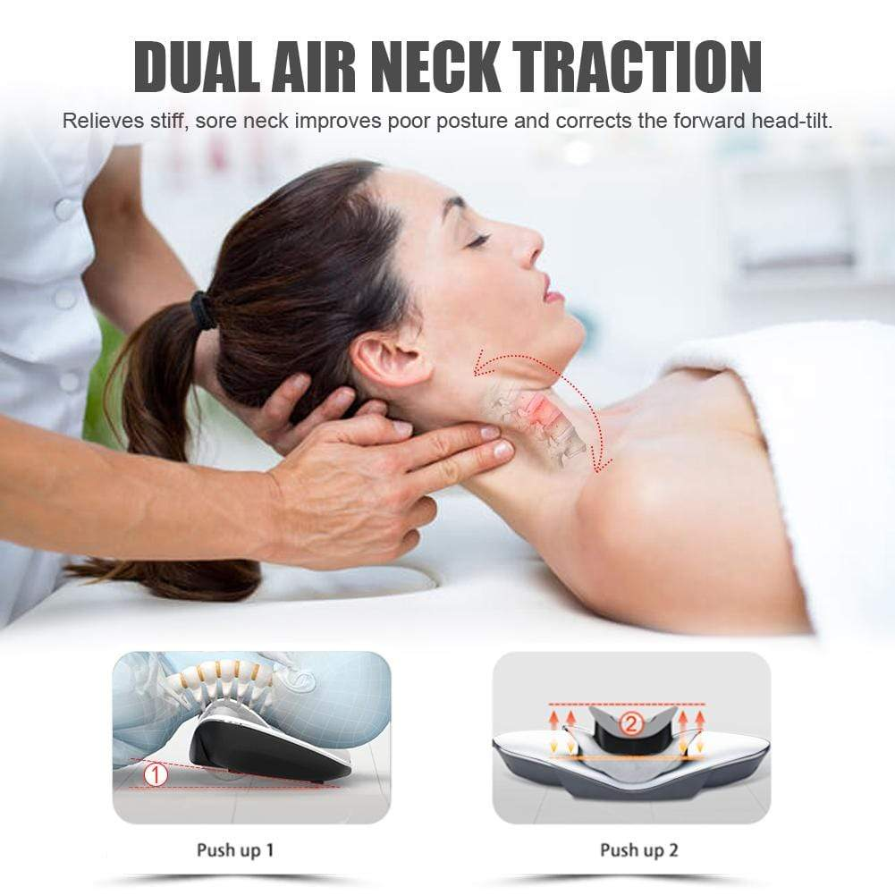 Real Relax Neck Traction Device, Massage Neck Pillows with Heat Therapy and Electrotherapy for Neck Pain, Cervical Care