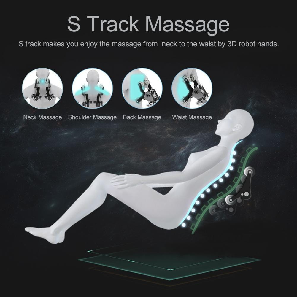 Real Relax Massage Chair Favor-SS02 Shiatsu Zero Gravity Massage Chair with Foot Rollers and Bluetooth Speakers