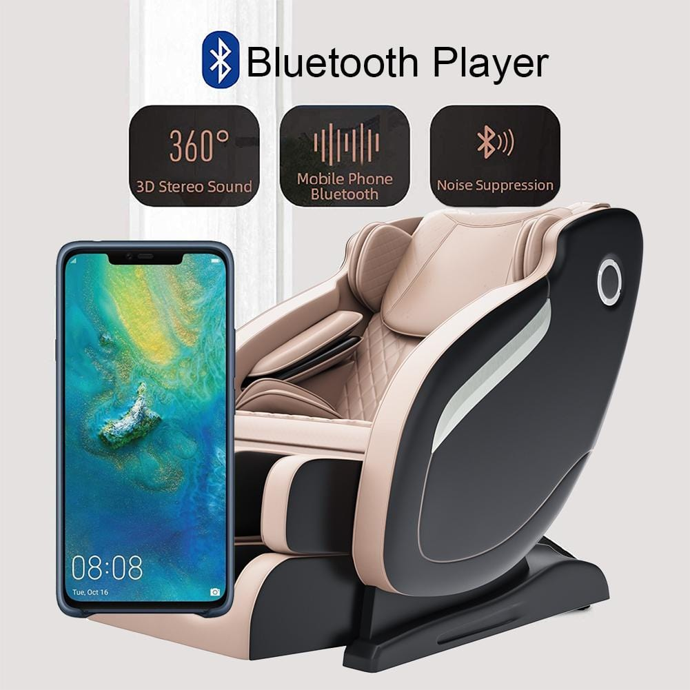 Favor-MM650 Real Relax 2020 Massage Chair, Thai Yoga Stretch 3D SL-Track Zero Gravity, Full Body Shiatsu Massage Chair with Tap, Bluetooth Heating and Foot Roller Massager