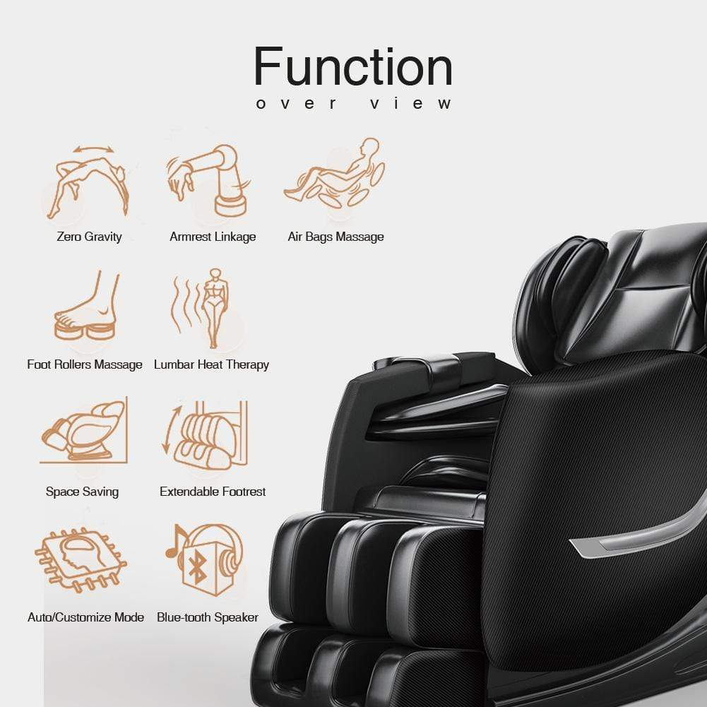 SS01 Massage Chair Recliner with Zero Gravity, Full Body Air Pressure, Bluetooth, Heat and Foot Roller Included