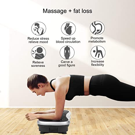 AM9007 Mini Vibration Plate Exercise Machine Full Whole Body Workout Home Massager and Fitness Platformform Weight Loss & Toning, with Resistance Band,Remote Control and Support 330Ibs
