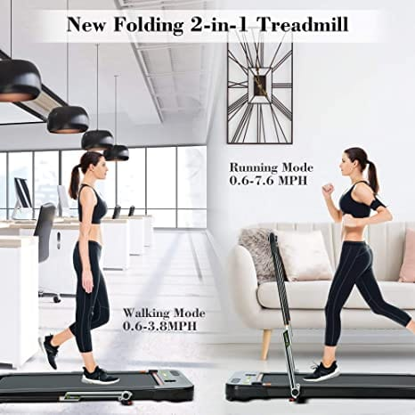 TT-100A2 2 in 1 Folding Treadmill, Under Desk Pad Machine, 2.25HP Motorized Walking Treadmill with LED Screen, Bluetooth Speaker and Remote Control, Indoor Fitness, for Home Walking & Running