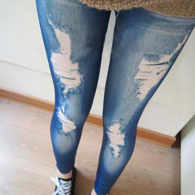 Jeans - 0 Ripped Denim Vintage Jeans Look Skinny Jeggings Tights Pants Trousers Blue Newest -   jetcube