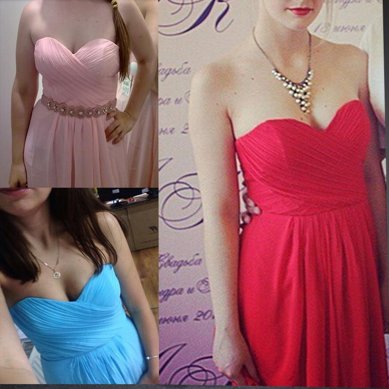 Bridesmaid Dresses - 0039 wine red colored chiffon strapless prom party dresses new fashion 2013 bridesmaid dress long -   jetcube