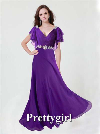 Prom Dresses - 0097 pretty girl V neck wiht sleeve purple grey royal blue elegant party maxi plus size evening dress long 2014 new arrival -   jetcube