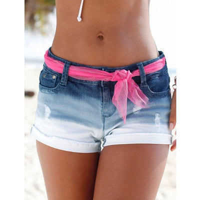Jeans - 016 Women's Fashion Brand Vintage Tassel Rivet Ripped Loose High Waisted Short Jeans Punk Sexy Hot Woman Denim Shorts -   jetcube