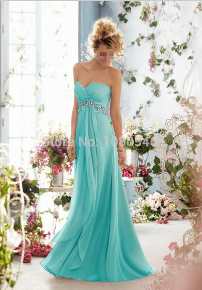 - 0199 royal blue 2014 New Crystal Chiffon Long Formal Prom Party Evening Dress orange  fashion maxi plus size strapless -   jetcube