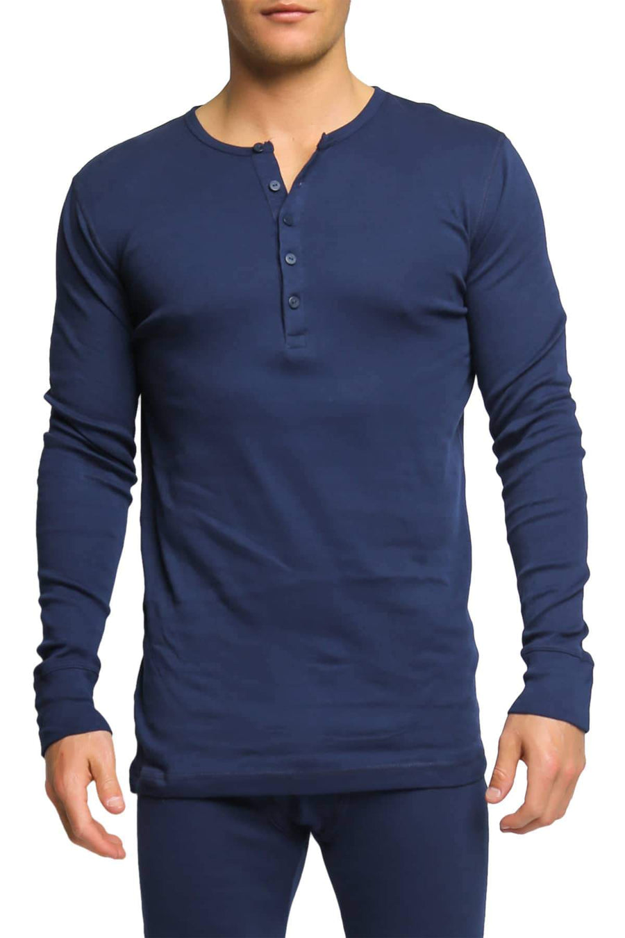 Shirts - 2(X)IST Navy Essential Long Sleeve Henley -   jetcube