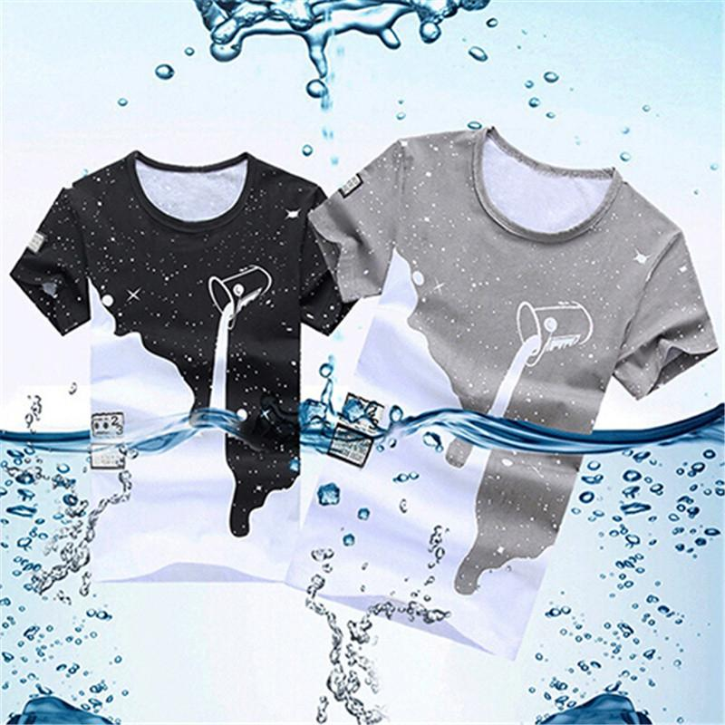 T-Shirts - 09WG2016 New Arrival Men's Summer Milk Poured Pattern Printed Short Sleeve Round Neck T-shirt Fashion Shirts -   jetcube
