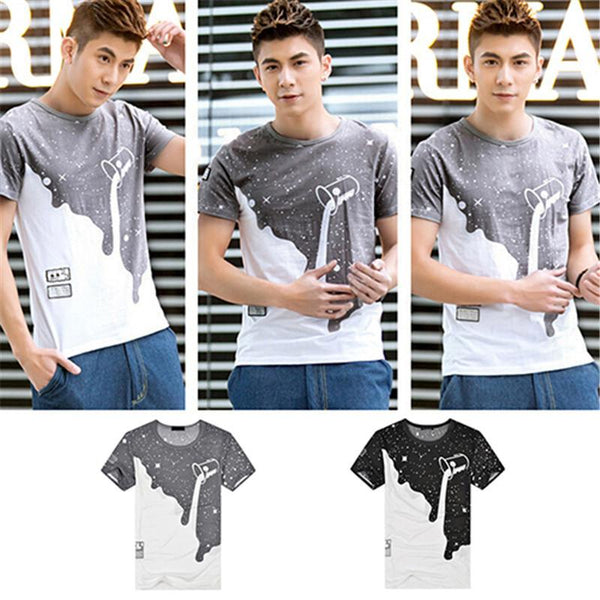 09WG2016 New Arrival Men's Summer Milk Poured Pattern Printed Short Sleeve Round Neck T-shirt Fashion Shirts - Ecart