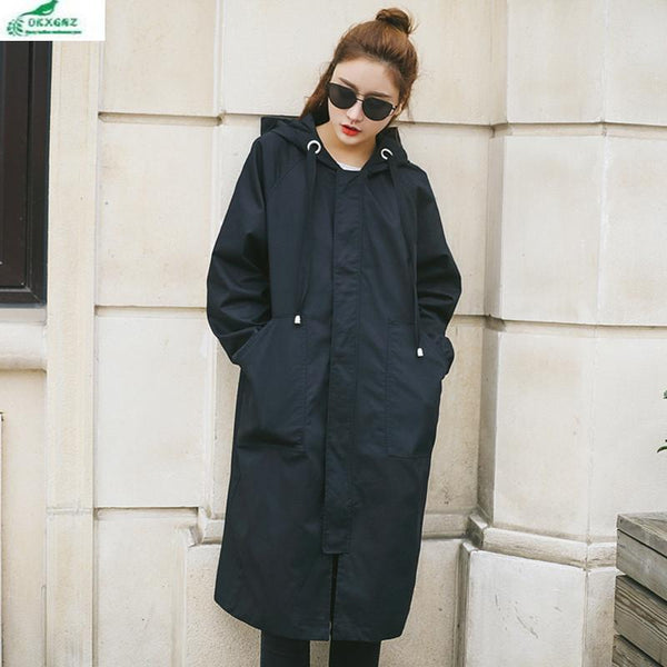 0KXGNZ New Spring Women Trench Coat 2017 Long Leisure Hooded Army Green Overcoat Loose Zippers Outwear Plus Size Trench HY22 - Ecart
