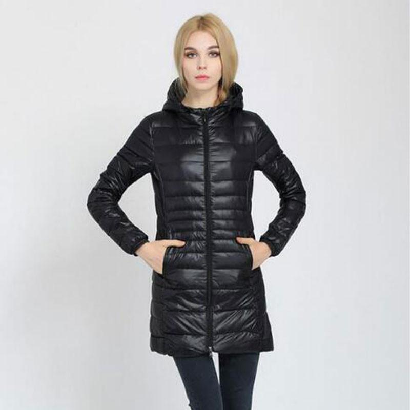 Down Coats - 1 PC Female Warm Winter Down Jacket Coat Thin 90% White Duck Down Parka Plus Size Ultralight Long Down Jacket Outwear BN589-1 -   jetcube