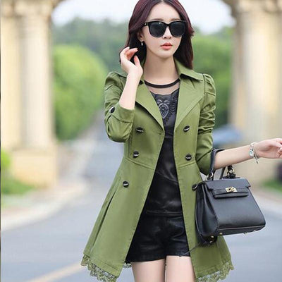 Coats - 1 PC Lace Trench Coat Spring Autumn New Long Turn-down Collar Plus Size Double Breasted Outerwear 2017 Women Casual Solid SY015 -   jetcube