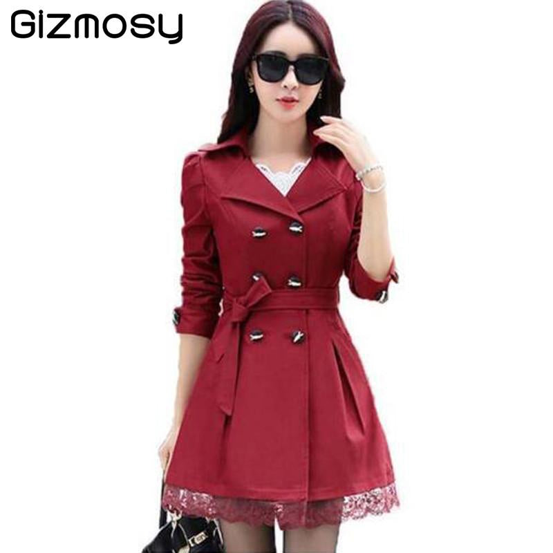 18ca6975e2191 Coats - 1 PC Lace Trench Coat Spring Autumn New Long Turn-down Collar Plus