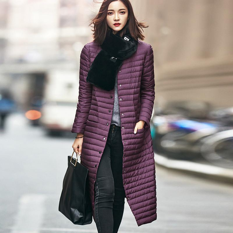 Down Coats - 1 PC Winter Duck Down Coat Solid Lady Parka Knee long section Winter Jacket Women Casual Outwear Padded Long Coat 2017 BN732 -   jetcube