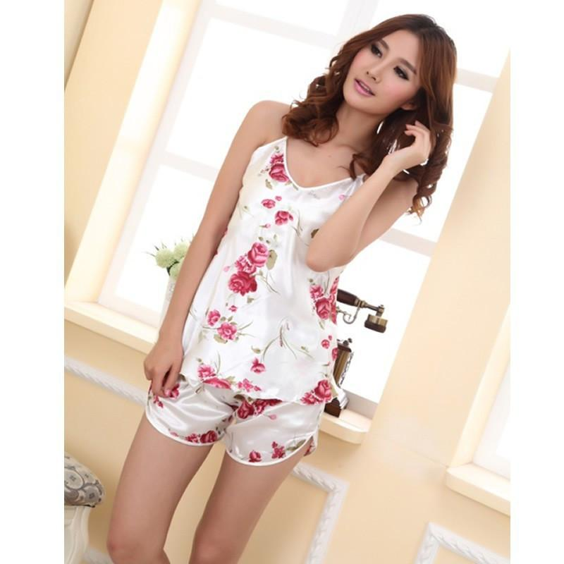 1 PC Women's Sexy Flower Sleepwear Braces Shirts + Shorts Underwear Pajamas Robes Set Christmas Gifts