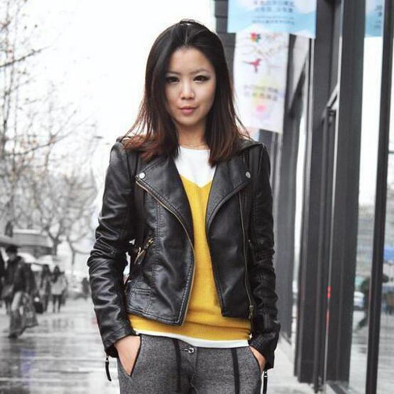 Basic Jackets - 1 Pcs Vintage PU Leather Jacket Women Slim Biker Motorcycle Soft Outwear Faux Leather Zipper Jackets Spring Ladies Coats BN122 -   jetcube